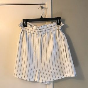 WAYF White Stripe Paper Bag Waist Shorts